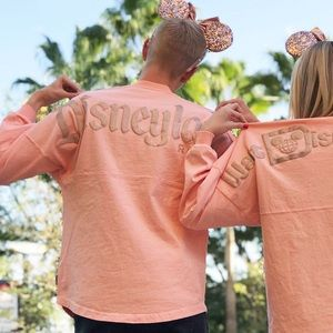 Disneyland peachy pink with rose gold longsleeve